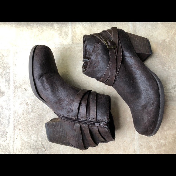 Crown Vintage Shoes - Belted Suede Ankle Boot